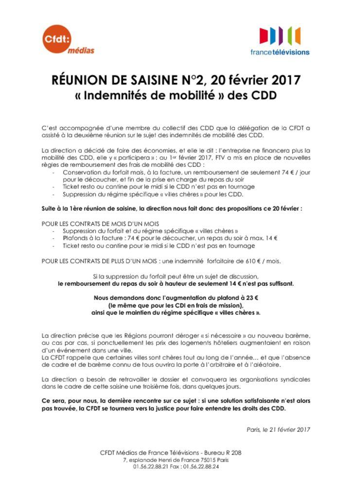 Indemnites De Mobilite Des Cdd Cfdt Ftv Cfdt France Televisions